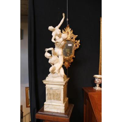 Sculpture Albatre Sur Socle Marbre: l' Enlèvement Des Sabines