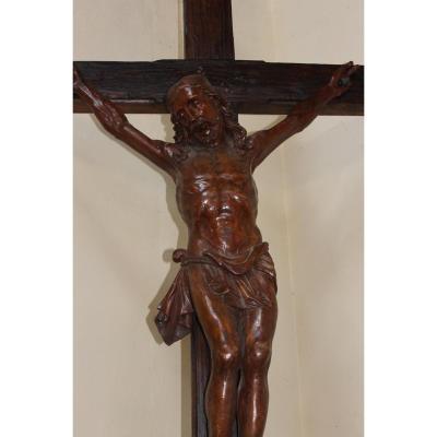 Grande Sculpture 17ème; Christ Janséniste en Orme 157 cm X 109 cm