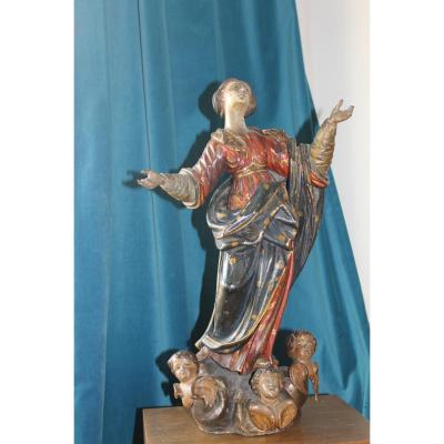Sculpture Bois Polychrome Sainte Marie De l' Assomption Epoque 17ème