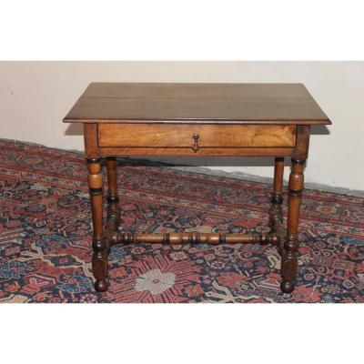 Table Bureau Louis XIV En Noyer Massif