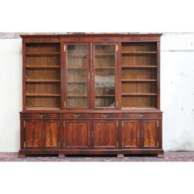 Importante Bibliothèque 19ème En Acajou