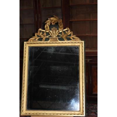 Miroir Louis XVI Bois Doré, Glace au Mercure