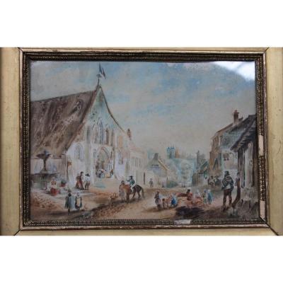 Peinture Aquarelle, Vue De Village, époque Début 19ème