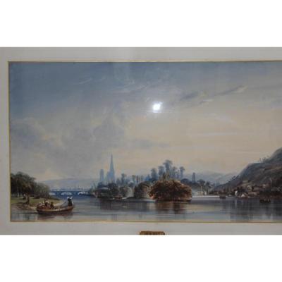 Paire d'Aquarelles De Antoine Désiré Héroult: La Seine à Rouen et à Mantes la Jolie