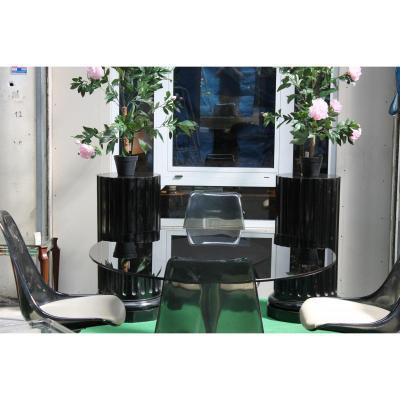 Table et 4 Chaîses Epoque Design en Plexi et Alluminium -