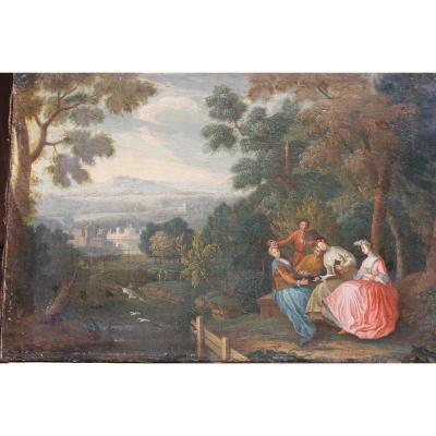 Peinture Huile /toile: Paysage Animé, Attribué à Bonaventure De Bar