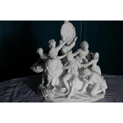 Groupe En Biscuit, Porcelaine De Sèvres Epoque 19ème