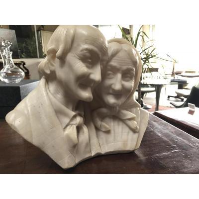 """Sculpture Marbre Italie Fin 19ème"""" Les Amoureux"""""""