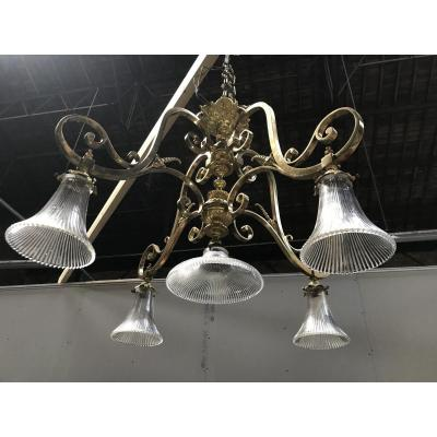 Chandelier Brass And Crystal Late 19th