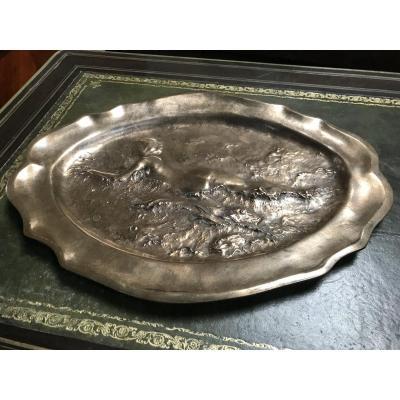 Plateau Décoratif En Bronze De Ledru, Fonte De Thiebaut Frères à Paris, époque fin 19ème