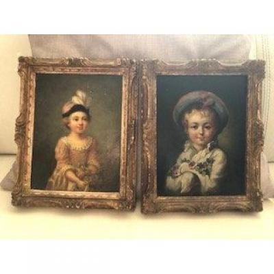 Oil Paintings On Panels, Pair Of Wearing Children Epoque 19th