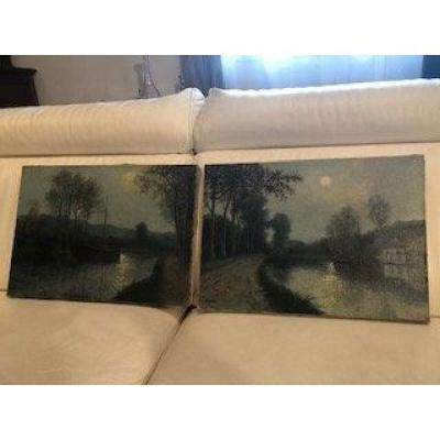 Pair Of Paintings Edge Of Canal In Clair De Lune Rene Walks XIX - XX