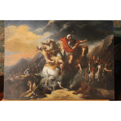 Peinture à l'Huile Sur Panneau, Scène De Bataille
