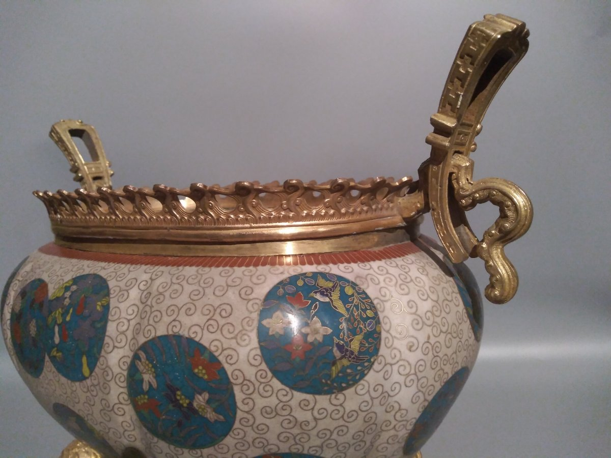 Cloisonne Cachepot Vase With Floral Patterns China 19th Century-photo-2