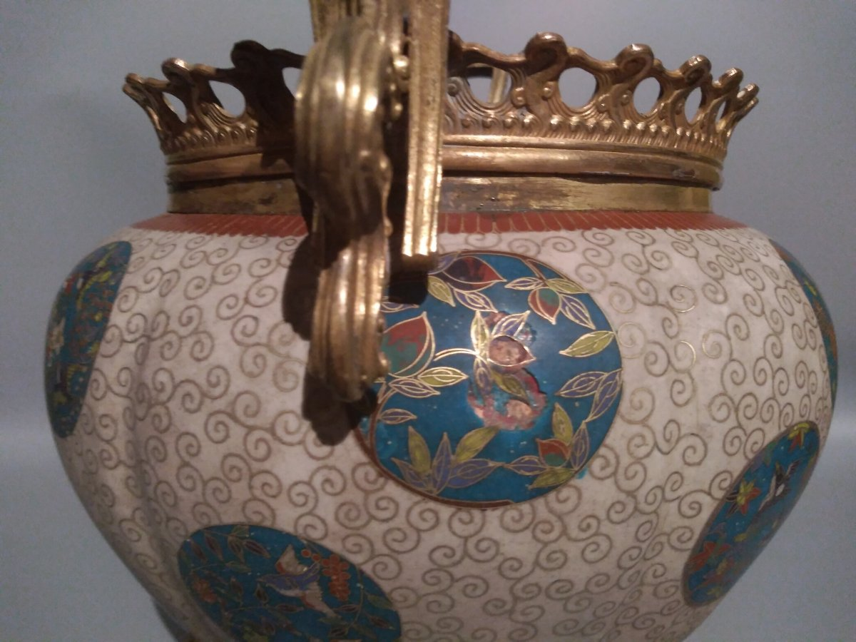 Cloisonne Cachepot Vase With Floral Patterns China 19th Century-photo-3