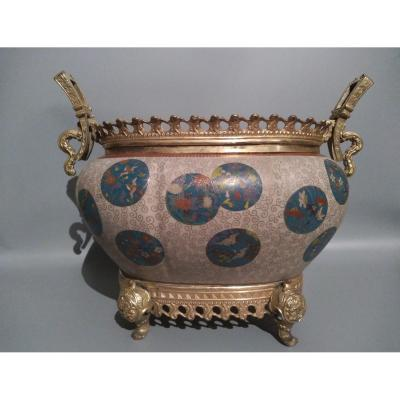 Cloisonne Cachepot Vase With Floral Patterns China 19th Century