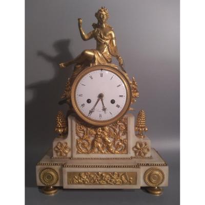 Pendule Ancienne, Pendule De Cheminée, Marbre Blanc Bronze Doré, Signée Le Jeune à Paris