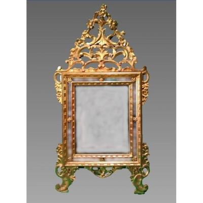 Large Mirror, Carved And Gilded Wood, Italy, Piedmont, 18th Century