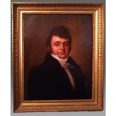 Ancient Painting, Portrait Of A Gentleman, France, Early 19th Century