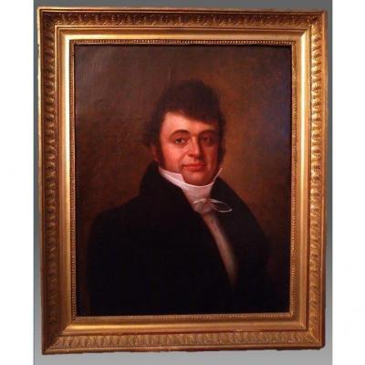 Peinture Ancienne, Portrait d'Un Gentleman, France, Début Du 19e Siècle