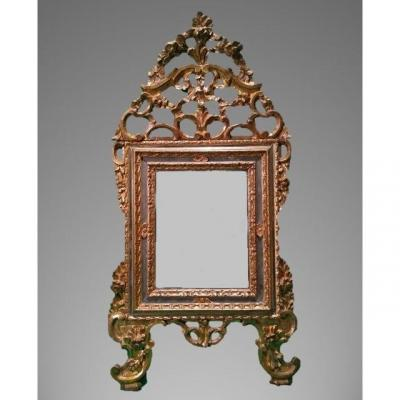 Small Louis XV Mirror, Carved And Gilded Wood, Triple Frame, Italy, Turin