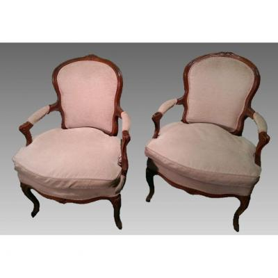 Pair Of Louis XV Armchairs In Walnut, France Eighteenth Century