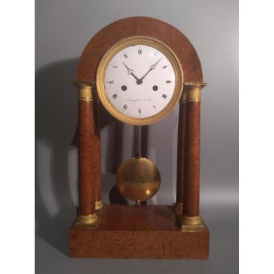 Old Table Clock, Pendulum, Elm Loupe, Charles X, Armingaud, France 19th Century
