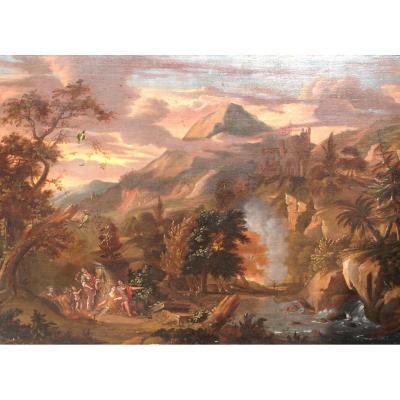 Grande Huile Sur Toile Attribuée à Giovanni Gruembroech Dit Solfarolo, Italie 17e Siècle