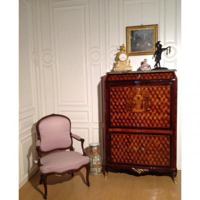 Secrétaire Louis XV Richement Incrusté, Paris, France 18e Siècle