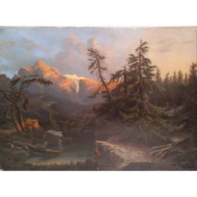 """Paysage alpin avec de la neige, huile sur toile, signé """"Tepping"""""""