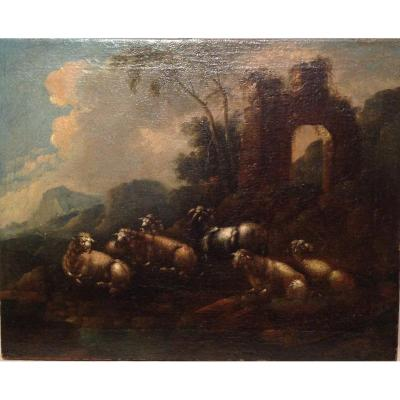 Peinture De Scène Rurale Avec Ruines, Huile Sur Toile, Philipp Peter Roos - Rosa Da Tivoli