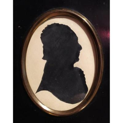 Old Miniature Cameo Silhouette, Male, France, Empire Period