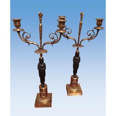 Paire De Candélabres En Bronze Doré, France, époque Empire