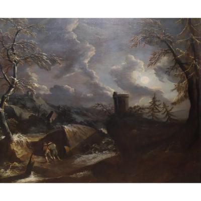 """""""Paysage d'hiver"""", peinture, tableau, huile sur toile, Francesco Foschi, Italie, XVIIIe siècle"""