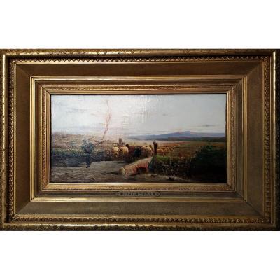 Paysage, Peinture, Peinture, Huile Sur Toile Signée A.Tiratelli, Rome XIXe Siècle