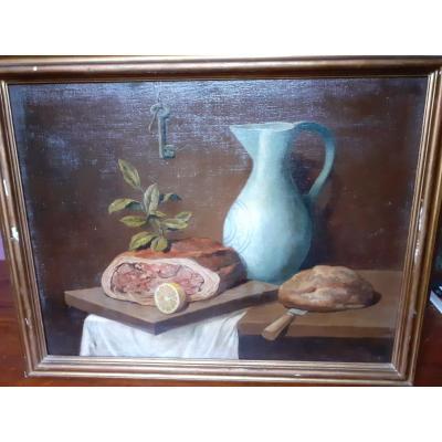 Peinture à l'Huile Sur Toile Représentant Des Natures Mortes, '900
