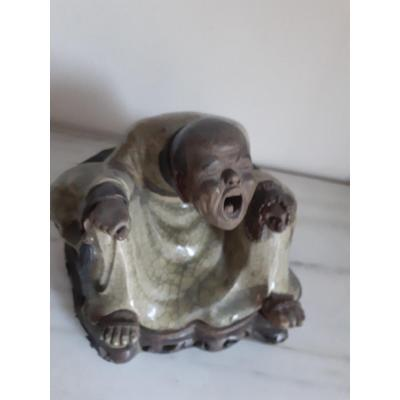 Ancienne Sculpture En Terre Cuite Polychrome Représentant La Divinité Positive ,'700, China