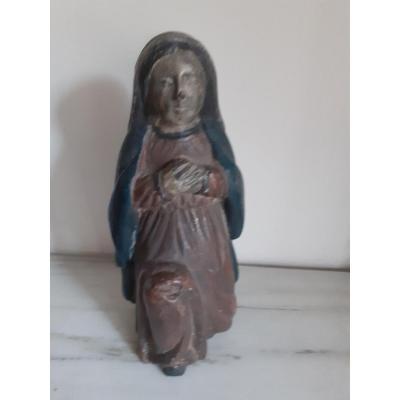 Sculpture En Bois Représentant Saint En Prière.  Période '700, Italie