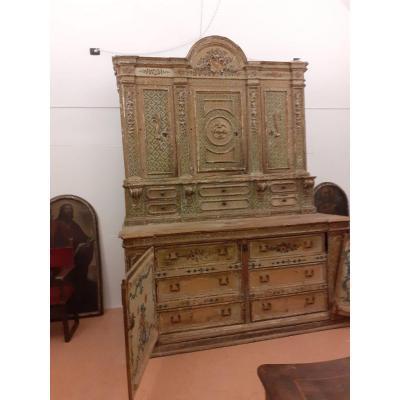 Cabinet Notarial (ou Sacristie) En Laque à Décors Floraux.  Aucune Référence Religieuse, '600