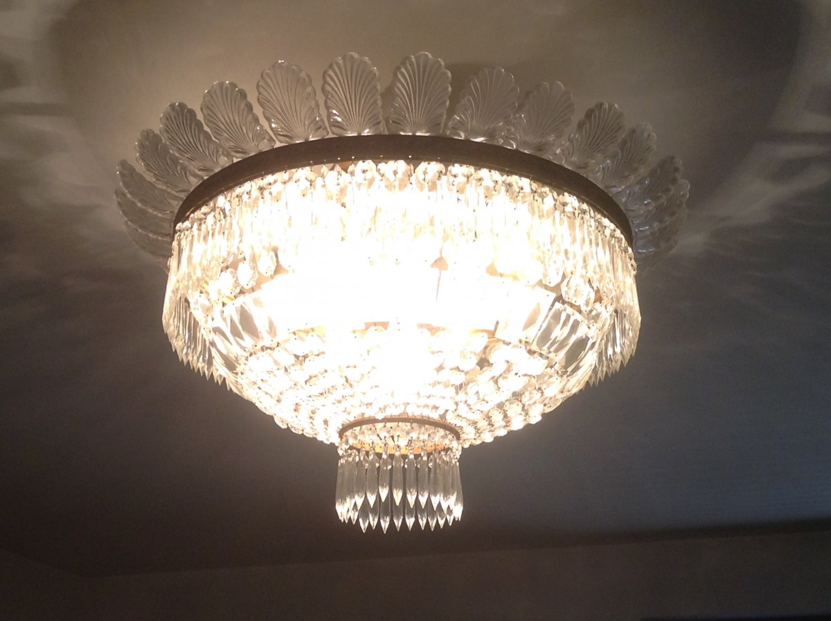 Baccarat Crystal And Bronze Ceiling Light