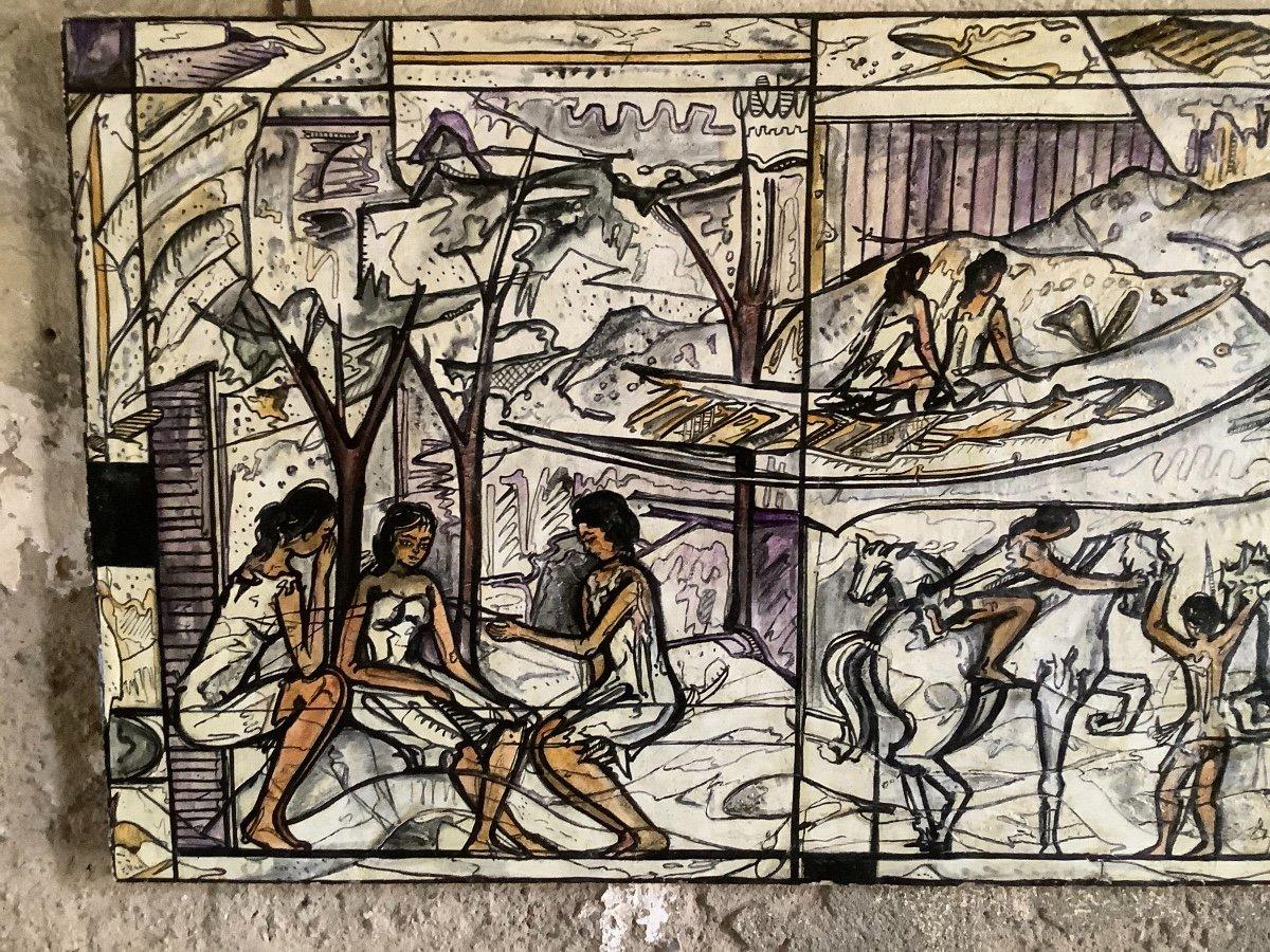 Panneau  De'coratif A' L'huilel Avec Figures Fe'minines Et Animaux Ep 1970-photo-2
