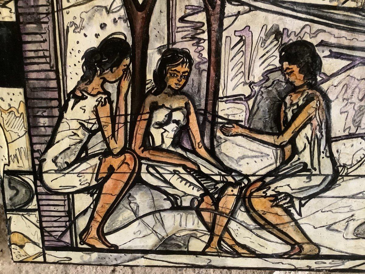Panneau  De'coratif A' L'huilel Avec Figures Fe'minines Et Animaux Ep 1970-photo-3