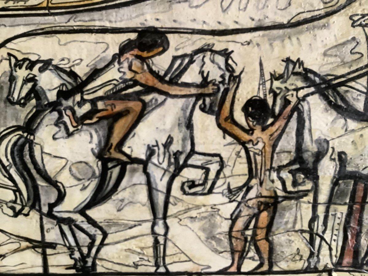 Panneau  De'coratif A' L'huilel Avec Figures Fe'minines Et Animaux Ep 1970-photo-4