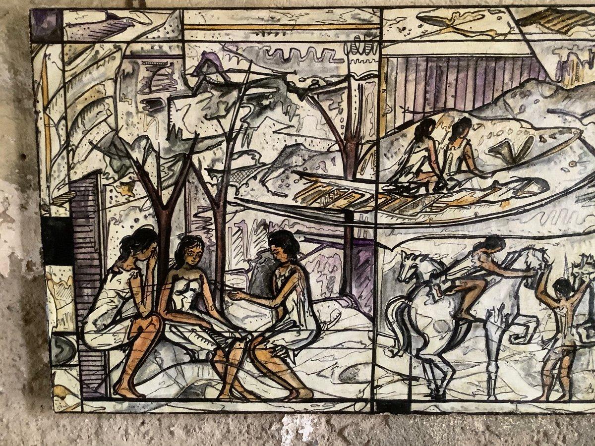 Panneau  De'coratif A' L'huilel Avec Figures Fe'minines Et Animaux Ep 1970-photo-1