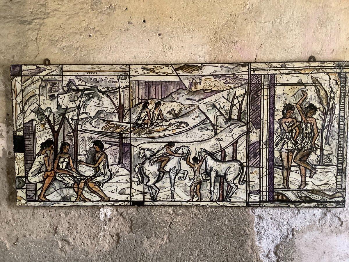 Panneau  De'coratif A' L'huilel Avec Figures Fe'minines Et Animaux Ep 1970
