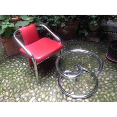 Quartre Chaise Metal Chrome Et Un Table Basse  Annees 70