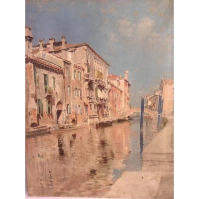 Huile Sur Toile Canal Venetien : Artiste  Vincenzo Caprile (napoli 1856-1936