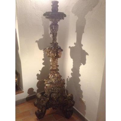Grand Bougeroir En Bois Sculpte' A La Feuille d'Argent Ep 700