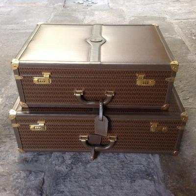 Set Of Suitcases In Leather And Metal Dore 'by Mario Valentino Annees 80