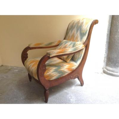 Beautiful Armchair In Solid Walnut Ep XVlll Century